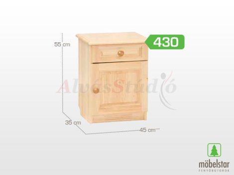 Möbelstar 430 - 1 ajtós 1 fiókos natúr fenyő éjjeliszekrény
