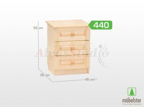 Möbelstar 440 - 3 fiókos natúr fenyő éjjeliszekrény