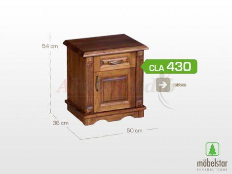 Möbelstar CLA 430 - 1 ajtós 1 fiókos pácolt fenyő éjjeliszekrény (jobbos)