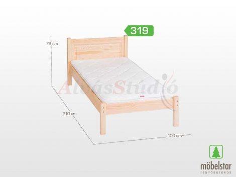Möbelstar 319 - natúr fenyő ágykeret 90x200 cm