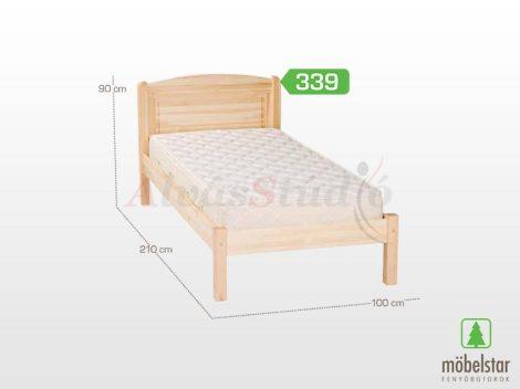 Möbelstar 339 - natúr fenyő ágykeret 90x200 cm