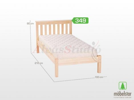 Möbelstar 349 - natúr fenyő ágykeret 90x200 cm