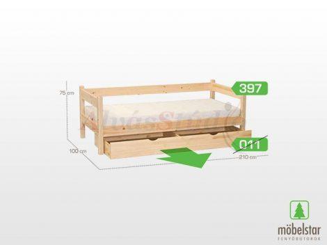 Möbelstar 397 - natúr fenyő gyerek ágykeret 90x200 cm