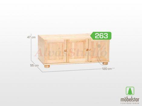 Möbelstar 263 - 3 ajtós natúr fenyő szekrény magasító