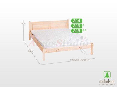 Möbelstar 318 - natúr fenyő ágykeret 180x200 cm
