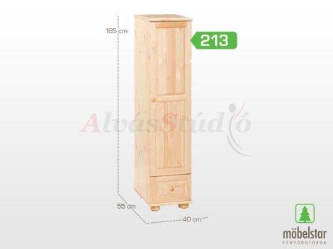 Möbelstar 213 - 1 ajtós 1 fiókos natúr fenyő szekrény (akasztós)