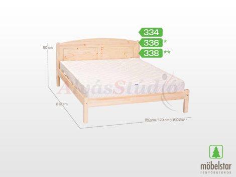 Möbelstar 338 - natúr fenyő ágykeret 180x200 cm