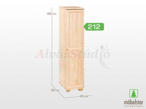 Möbelstar 212 - 1 ajtós natúr fenyő szekrény (polcos)