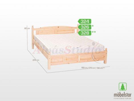 Möbelstar 326 - natúr fenyő ágykeret 160x200 cm
