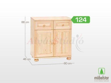 Möbelstar 124 - 2 ajtós 2 fiókos natúr fenyő komód