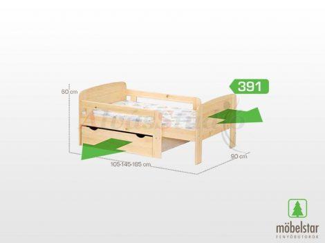 Möbelstar 391 - natúr fenyő gyerek ágykeret 90x105 cm