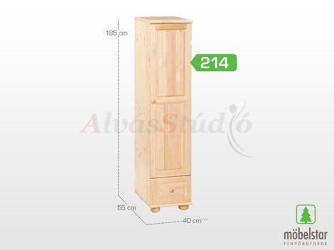 Möbelstar 214 - 1 ajtós 1 fiókos natúr fenyő szekrény (polcos)
