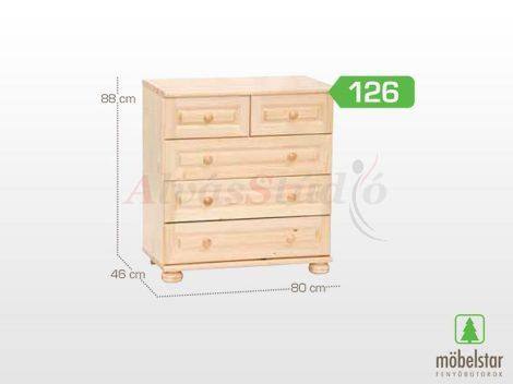 Möbelstar 126 - 3 fiókos - 2 fiókos natúr fenyő komód