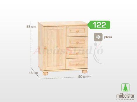 Möbelstar 122 - 1 ajtós 4 fiókos natúr fenyő komód (jobbos)