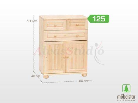 Möbelstar 125 - 2 ajtós 3 fiókos natúr fenyő komód