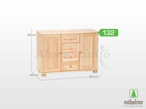 Möbelstar 132 - 2 ajtós 4 fiókos natúr fenyő komód