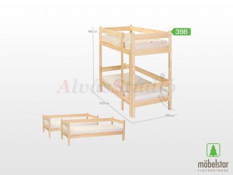 Möbelstar 398 - natúr fenyő emeletes gyerek ágykeret 90x200 cm