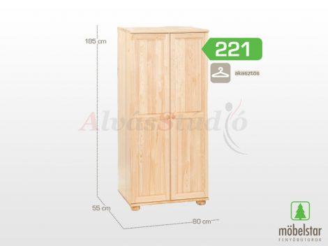 Möbelstar 221 - 2 ajtós natúr fenyő szekrény (akasztós)