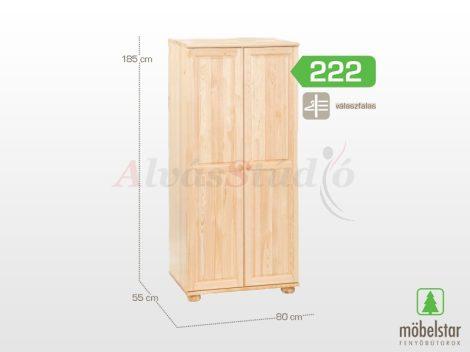 Möbelstar 222 - 2 ajtós natúr fenyő szekrény (válaszfalas)