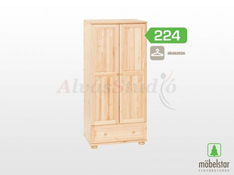 Möbelstar 224 - 2 ajtós 1 fiókos natúr fenyő szekrény (akasztós)