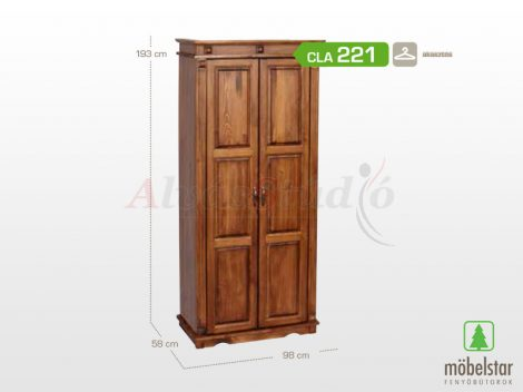 Möbelstar CLA 221 - 2 ajtós pácolt fenyő szekrény