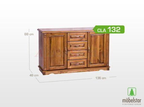 Möbelstar CLA 132 - 2 ajtós 4 fiókos pácolt fenyő komód