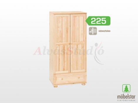 Möbelstar 225 - 2 ajtós 1 fiókos natúr fenyő szekrény (válaszfalas)