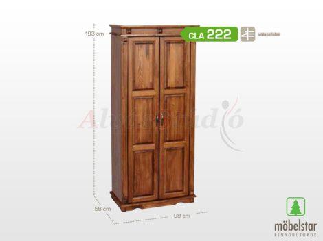 Möbelstar CLA 222 - 2 ajtós pácolt fenyő szekrény (válaszfalas)