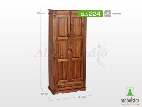 Möbelstar CLA 224 - 2 ajtós 1 fiókos pácolt fenyő szekrény