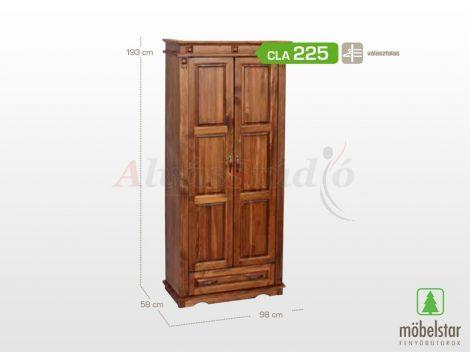 Möbelstar CLA 225 - 2 ajtós 1 fiókos pácolt fenyő szekrény (válaszfalas)