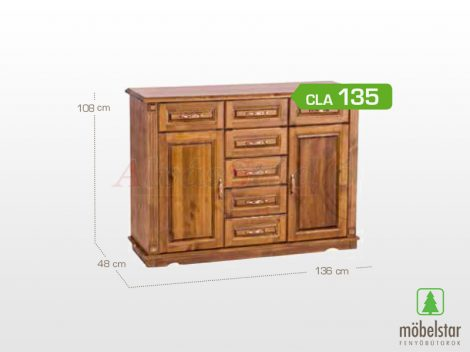 Möbelstar CLA 135 - 2 ajtós 7 fiókos pácolt fenyő komód