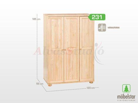 Möbelstar 231 - 3 ajtós natúr fenyő szekrény