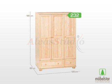 Möbelstar 232 - 3 ajtós, 2 fiókos natúr fenyő szekrény