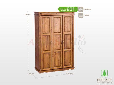 Möbelstar CLA 231 - 3 ajtós pácolt fenyő szekrény (válaszfalas)