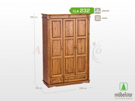 Möbelstar CLA 232 - 3 ajtós 2 fiókos pácolt fenyő szekrény (válaszfalas)