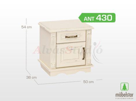Möbelstar ANT 430 - 1 ajtós 1 fiókos antik festett fenyő éjjeliszekrény
