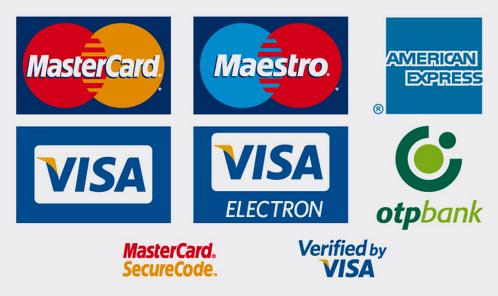 Elfogadott bankkártyák: Mastercard, Maestro, Visa, Visa Electron, American Express, OTP Bank
